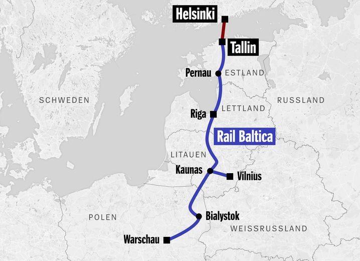 基於安全顧慮,愛沙尼亞政府將否絕由中國出資興建、通往芬蘭的波羅的海海底隧道計畫(紅線段處),該隧道原本將連結歐盟出資興建的高速鐵路波羅的海鐵路(藍線段)。(圖取自芬蘭-愛沙尼亞灣區發展公司網頁finestbayarea.online)