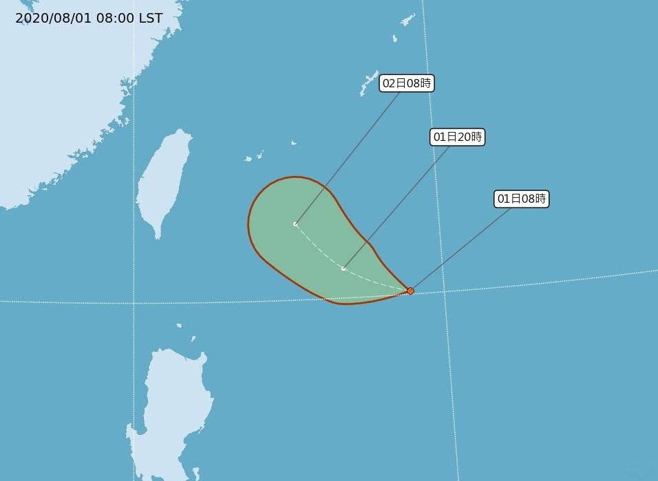 位在台灣東南方海面的熱帶性低氣壓朝西北移動,氣象局表示,不排除會發展為颱風。(圖取自氣象局網頁cwb.gov.tw)
