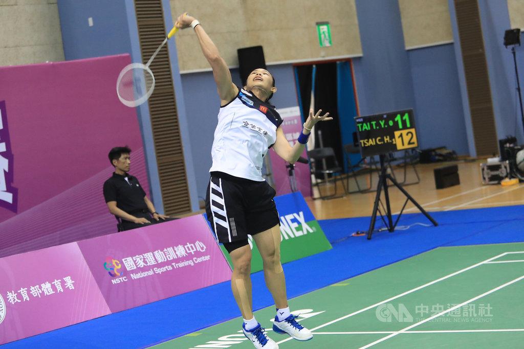 模擬東京奧運對抗賽3日上午進行羽球單打,由台灣羽球好手戴資穎(圖)對戰男單選手蔡傑皓,戴資穎以18比21、16比21不敵蔡傑皓。中央社記者吳家昇攝 109年8月3日