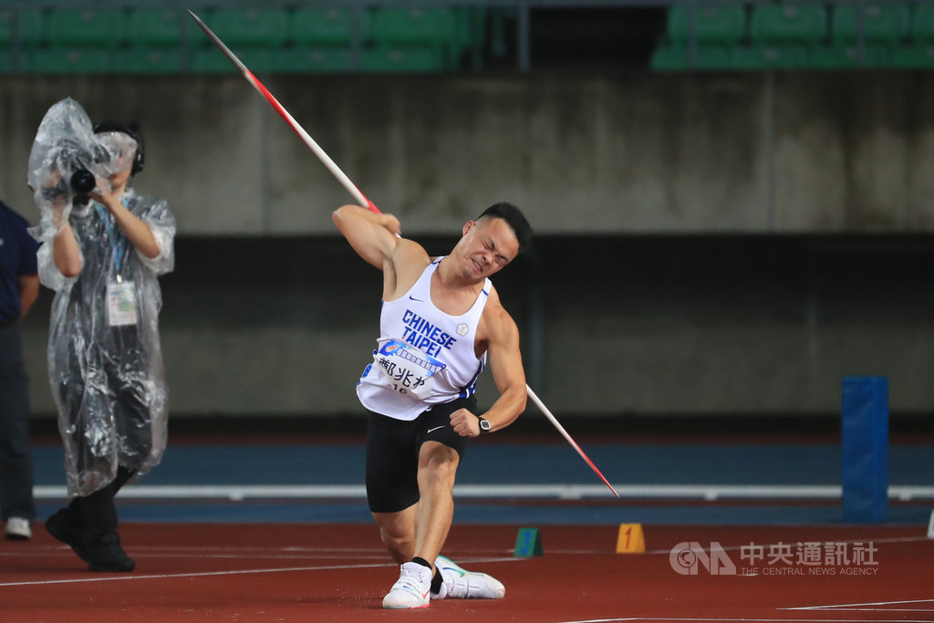 亞洲男子標槍紀錄保持人「黃金右臂」鄭兆村(圖)7日在新北城市盃全國田徑公開賽以79公尺48摘金,但他自認表現差強人意,全大運狀況可能會好一點。(中央社檔案照片)