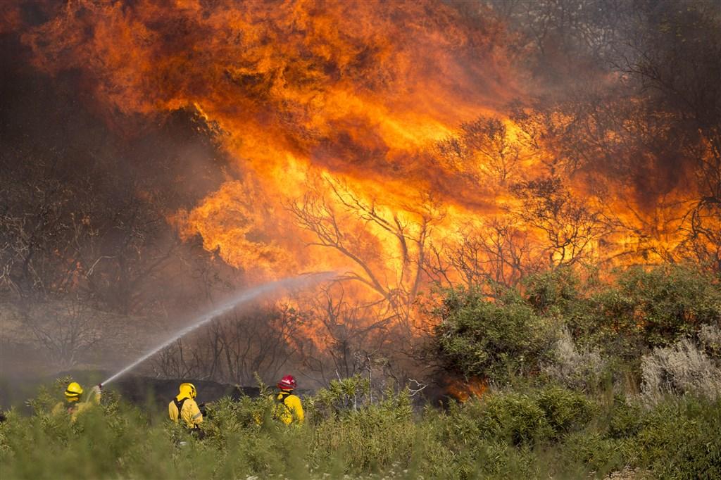 美國南加州洛杉磯以東的野火3日持續延燒,危及數千民眾與住家的安全,消防員正不遺餘力試圖控制火勢。(美聯社)