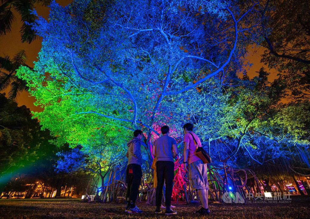 「2019 LOVE高雄追光季」在「2020德國紅點設計大獎」中,榮獲「品牌暨傳達設計大獎」中的「展場設計類」紅點獎。圖為展區作品「一畝光蔭」,以雷射渲染大樹枝葉,在夜間形成迷幻光影。(必應創造提供)中央社 109年8月4日