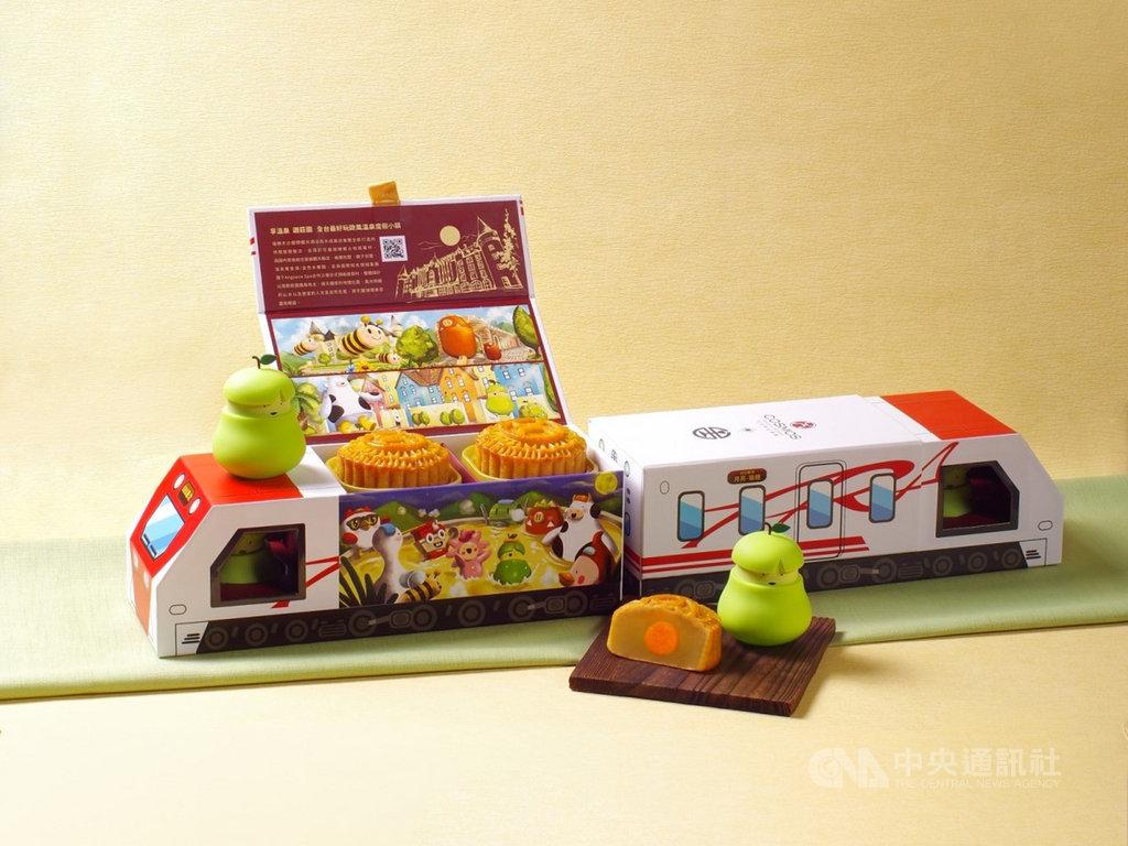 台鐵109年首度聯手飯店業者推出月餅禮盒,外觀採用普悠瑪列車造型,將於7日上午開放預購。(台鐵提供)中央社記者汪淑芬傳真 109年8月5日