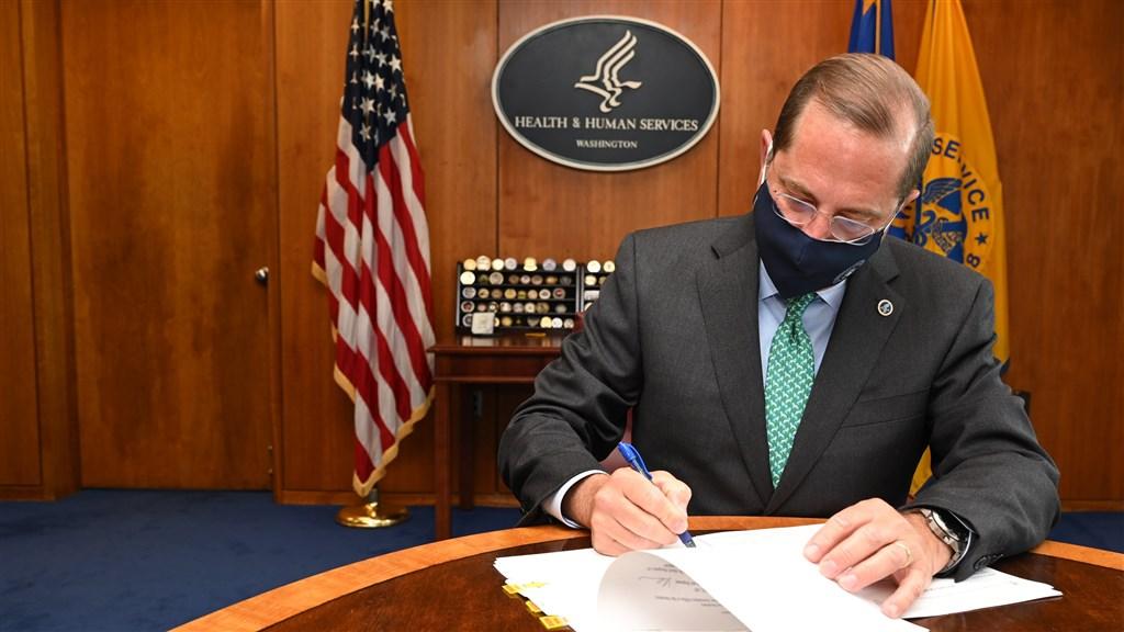 美國衛生部長艾薩將於近日訪台,是1979年以來訪台層級最高的美國內閣官員。外交部5日說,訪團來台將依疫情指揮中心核定的專案執行防檢疫措施。(圖取自twitter.com/SecAzar)