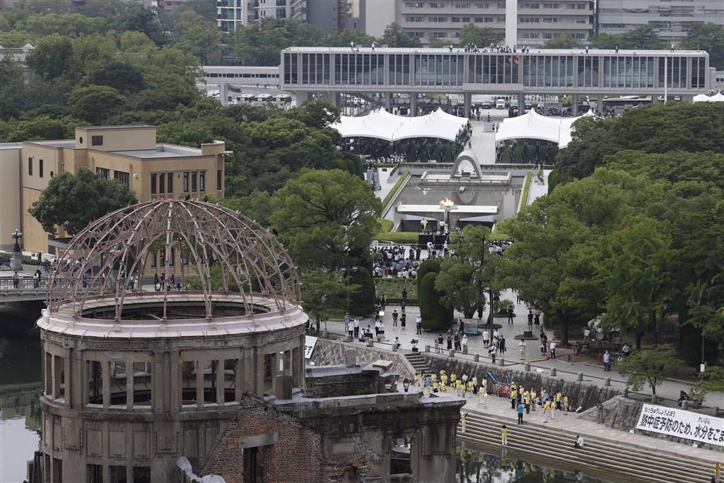 日本廣島市6日迎接原子彈爆炸75週年,在和平公園舉行和平紀念儀式。(共同社)