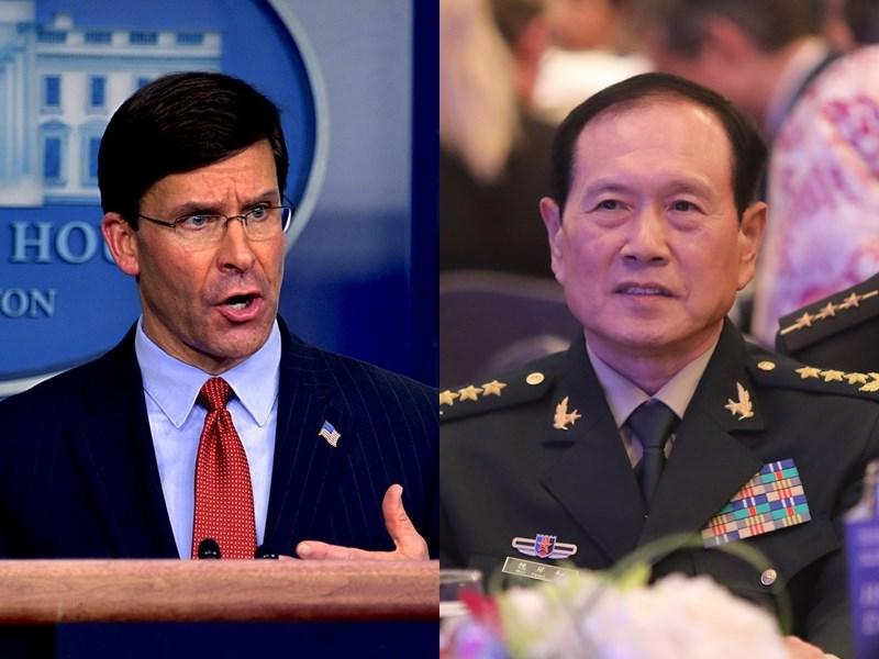 美國國防部長艾斯培(左)與中國國防部長魏鳳和(右)通電話,對中國在台灣和南海附近「破壞穩定」的活動表達憂慮。(左圖取自facebook.com/SecDef,右為中央社檔案照片)