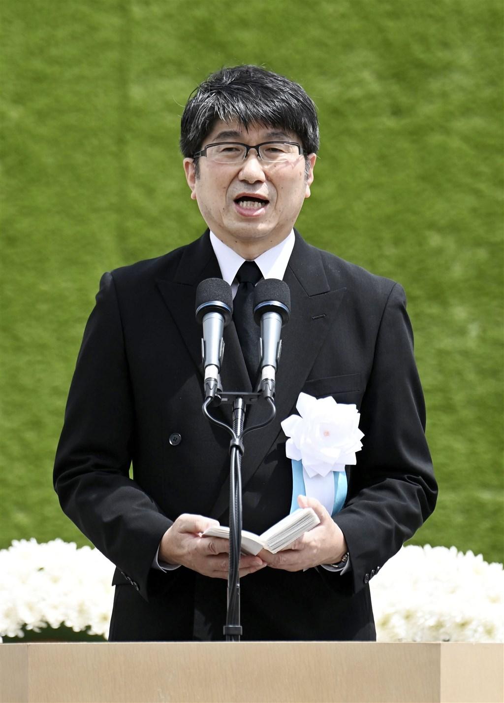 日本長崎市長田上富久9日在原子彈轟炸75週年紀念儀式上,再度呼籲日本政府簽署並批准禁止核武器條約。(共同社)