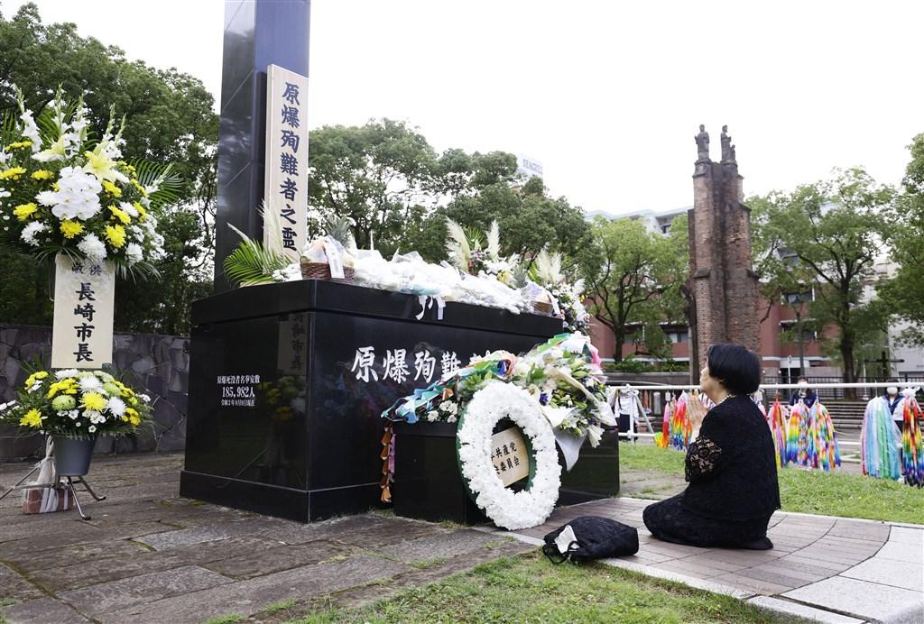 日本長崎市9日紀念遭原子彈轟炸75週年,並在距離當年爆炸中心不遠的長崎市和平公園舉行祈禱和平紀念儀式,追悼罹難者。(共同社)