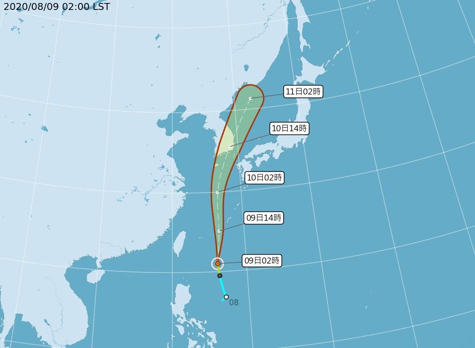 中央氣象局表示,颱風薔蜜9日凌晨2時形成,預測向北往琉球方向移動,直接影響台灣的機率低。(圖取自氣象局網頁www.cwb.gov.tw)