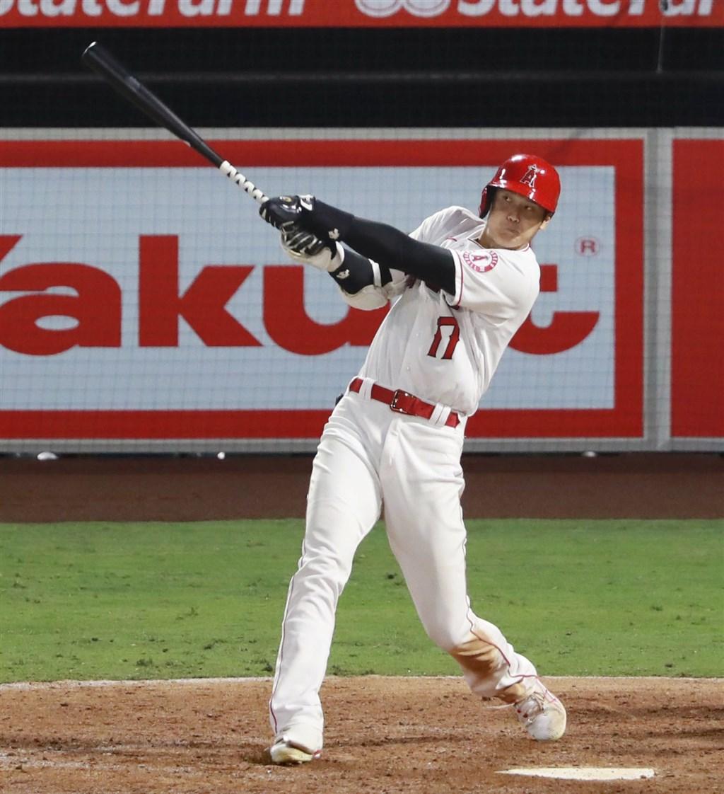 旅美職棒天使隊日籍球星大谷翔平11日與運動家隊交手,6局敲出2分砲,為日籍球員大聯盟第600轟。(共同社)