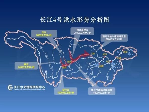 中國水利部長江水利委員會水文局14日清晨5時發布,「長江2020年第4號洪水」在上游形成。圖為長江4號洪水形勢分析圖。(取自中國長江水利網)