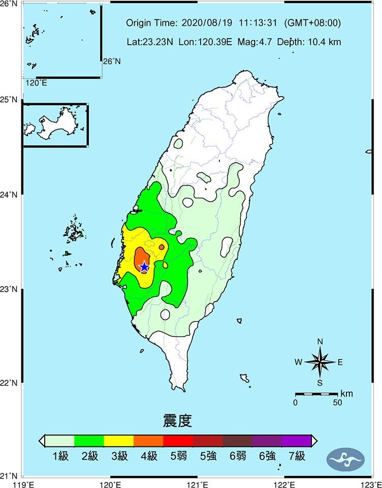 台南六甲19日截至下午4時連續發生4起地震,地震測報中心副主任吳健富不排除未來一週可能有比較大規模的地震發生。(圖取自facebook.com/CWBSC.TW)