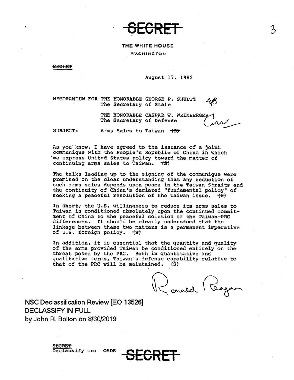 日前解密的一項白宮內部文件披露美方持續對台軍售的關鍵。1982年8月17日,八一七公報簽署的當天,時任美國總統雷根發給當時的美國國務卿舒茲、國防部長溫伯格一份備忘錄,內容指出,美國同意減少對台軍售的意願,全然以中國持續其和平解決台灣與中華人民共和國分歧的承諾為先決條件。(圖取自AIT網頁ait.org.tw)