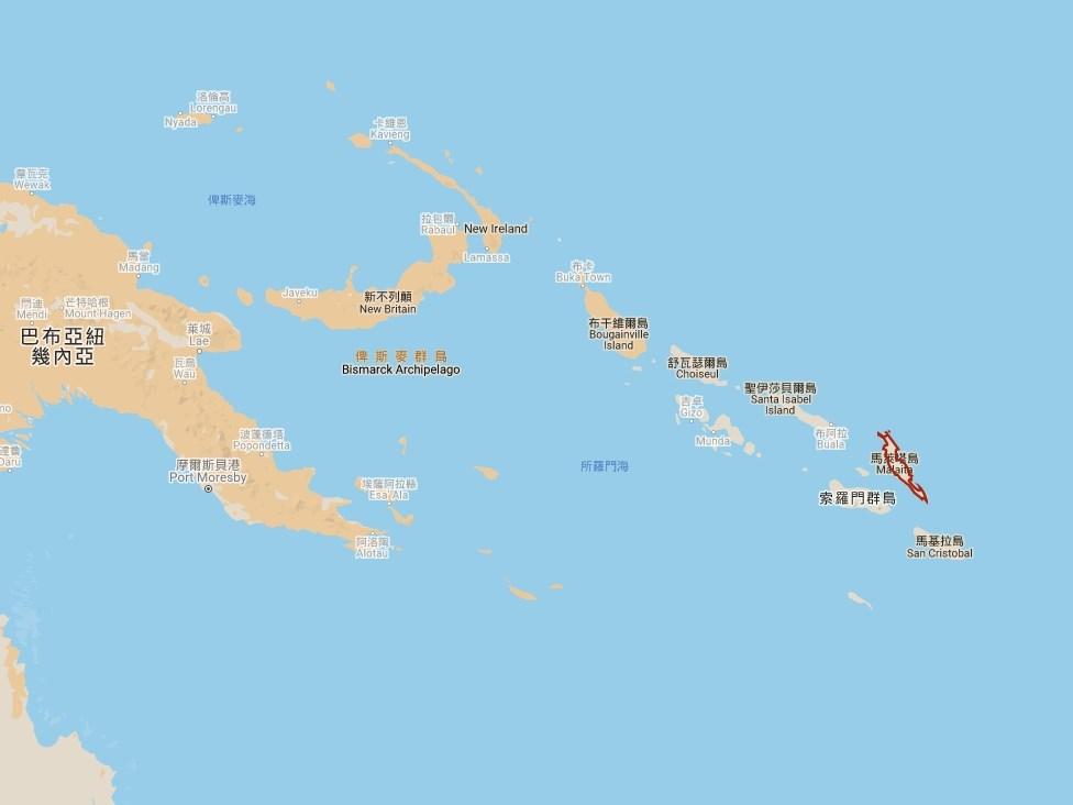 索羅門群島的的最大省馬萊塔(紅框處)政府因不滿中央政府與台灣斷交,並扣押台灣捐給馬萊塔的物資,計畫舉行獨立公投。(圖取自Google地圖網頁google.com.tw/maps)