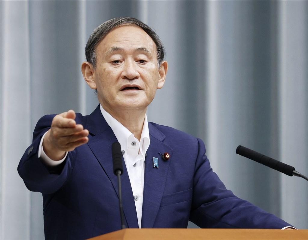 日本內閣官房長官菅義偉14日當選自民黨總裁。(共同社)
