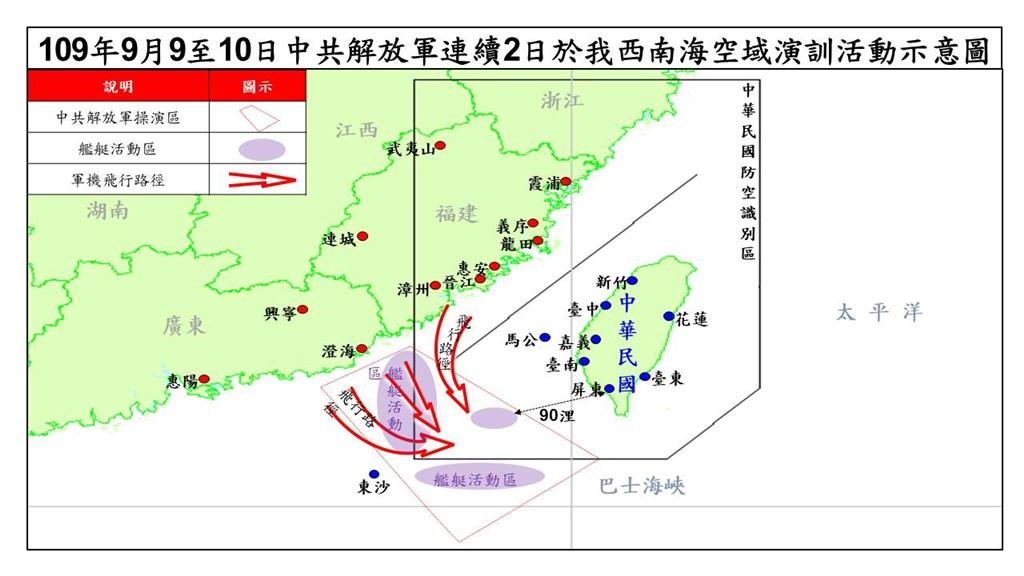 國防部晚間召開臨時記者會表示,中共解放軍9日、10日上午在台灣西南方海空域進行大規模軍事演訓,且演訓區距離台灣最近僅90浬(約166公里)。(國防部提供)
