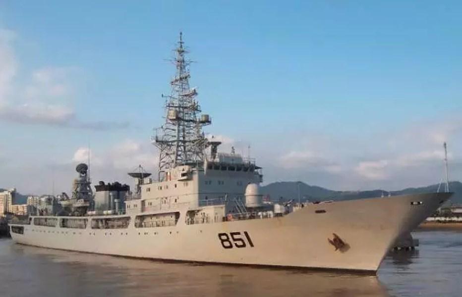 軍方人士11日表示,解放軍情報船這2天現蹤花蓮縣外海。圖為共軍一艘偵察船。(圖取自中共國防部網頁mod.gov.cn)