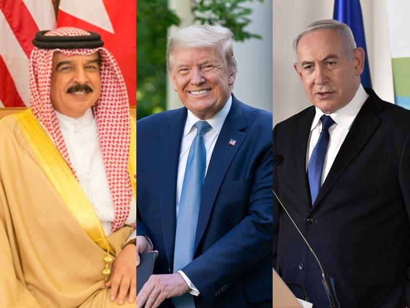 美國總統川普(中)11日宣布以色列與巴林達成「和平協議」,根據聲明內容,巴林國王哈麥德(左)、以色列總理尼坦雅胡(右)和川普在談話後,宣布這項歷史性突破。(左圖取自維基共享資源網頁,版權屬公有領域、中圖取自facebook.com/WhiteHouse、右圖取自facebook.com/Netanyahu)