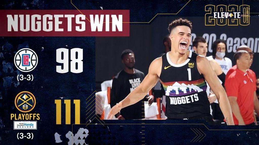 NBA季後賽西區次輪,處於2比3落後的金塊與快艇展開第6戰,金塊以111比98逆轉勝並把系列賽扳平,兩隊要打第7戰決定誰能晉級西區冠軍賽。(圖取自twitter.com/nuggets)