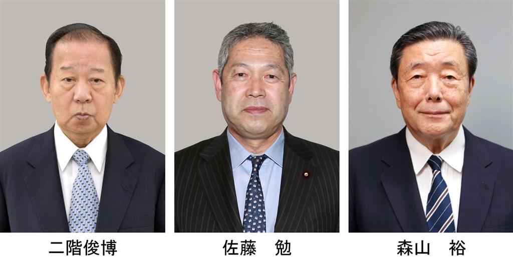 日本執政黨自民黨14日選出新黨魁菅義偉,15日決定黨內幹部人事。幹事長二階俊博(左)留任、總務會長為佐藤勉(中),國會對策委員長森山裕(右)也留任。(共同社)