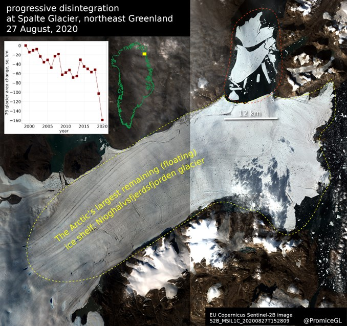 科學家14日表示,由於溫度持續攀升,位於格陵蘭一塊面積超過整個巴黎的巨大冰塊,已從北極最大冰架崩裂落海。(圖取自GEUS網頁geus.dk)