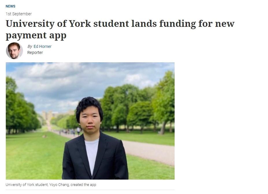 來自台灣,目前就讀英國約克大學管理學院3年級的張耀昀開發名為KodyPay的手機支付App,獲得著名企業挹注高達180萬英鎊(新台幣6767萬元)資金。(圖取自約克大學網頁yorkpress.co.uk)