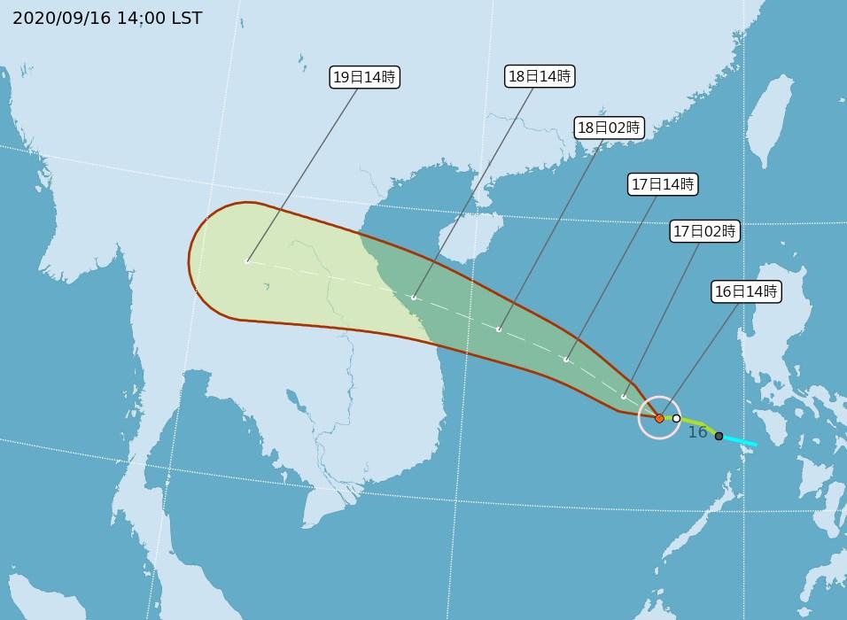 氣象局16日表示,輕颱紅霞有逐漸增強的趨勢,是否會達中颱仍待觀察,但對台灣無影響。(圖取自中央氣象局網頁cwb.gov.tw)