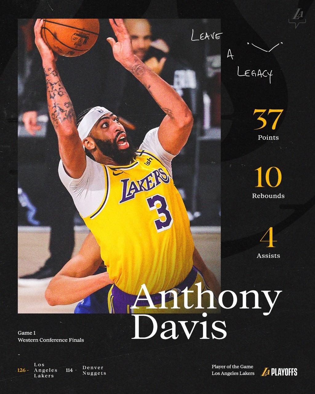 洛杉磯湖人隊「一眉哥」戴維斯18日拿下37分10籃板,幫湖人以126比114砸碎丹佛金塊。(圖取自twitter.com/Lakers)