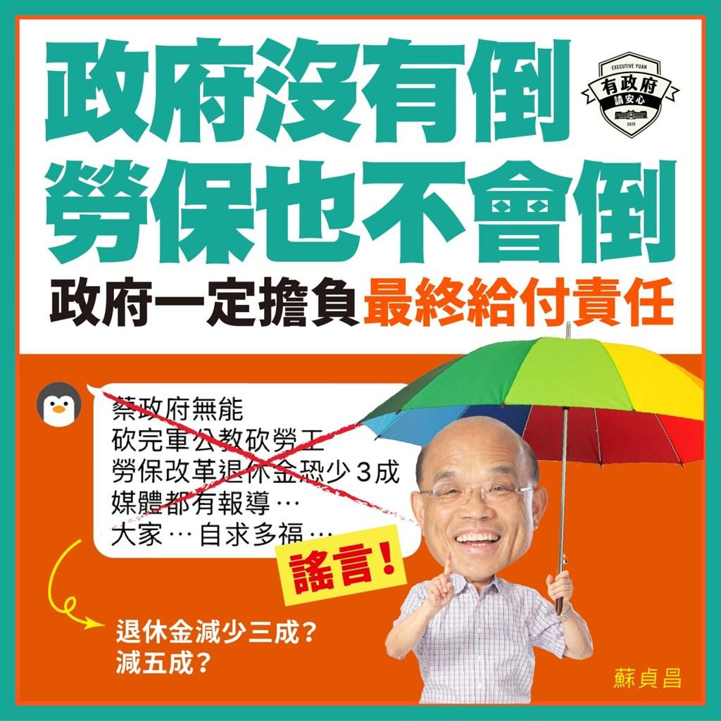 行政院長蘇貞昌19表示,最近有關勞保的錯假訊息很多,傳言「退休金會少3成、減5成」都是不實訊息。(圖取自蘇貞昌LINE帳號)