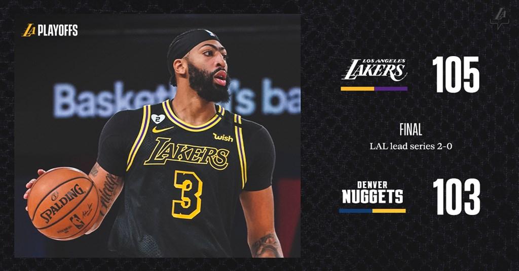 NBA湖人20日對金塊在末節遭逆轉,所幸戴維斯在球隊落後1分之際飆進壓哨的關鍵三分球,助湖人在西區冠軍賽拿下2連勝。(圖取自twitter.com/Lakers)