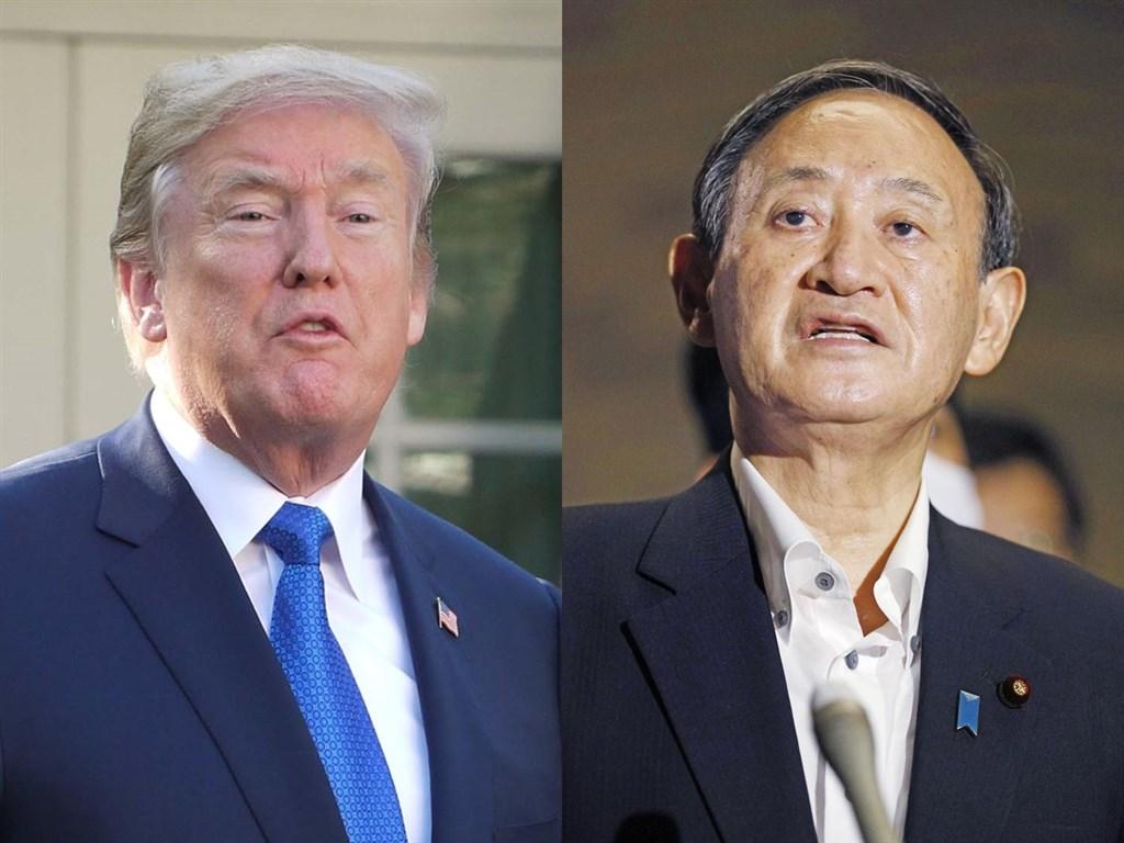 美國總統川普(左)20日與日本新首相菅義偉(右)通電話,討論追求「自由開放的印度洋-太平洋地區」共同願景的重要性。(左圖中央社檔案照片,右圖共同社提供)