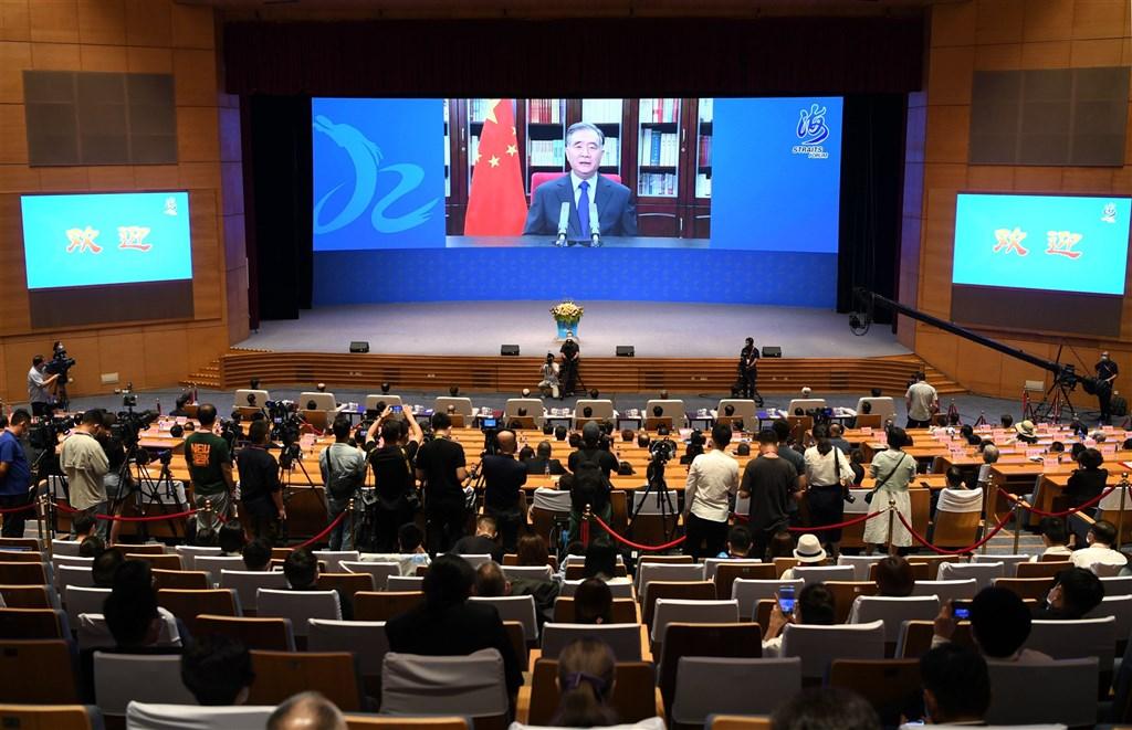 海峽論壇20日開幕,中國全國政協主席汪洋未出席,僅以視訊方式在開幕式中致詞。(中新社)