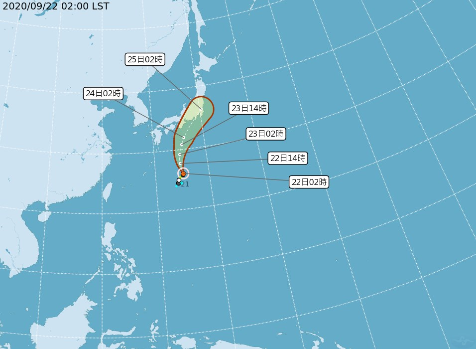 氣象專家吳德榮表示,輕颱白海豚23、24日與鋒面的共伴效應,將帶給日本本州大量降水;台灣22日天氣多雲時晴,預計24日鋒面南下,天氣轉雨再轉涼。(圖取自中央氣象局網頁cwb.gov.tw)