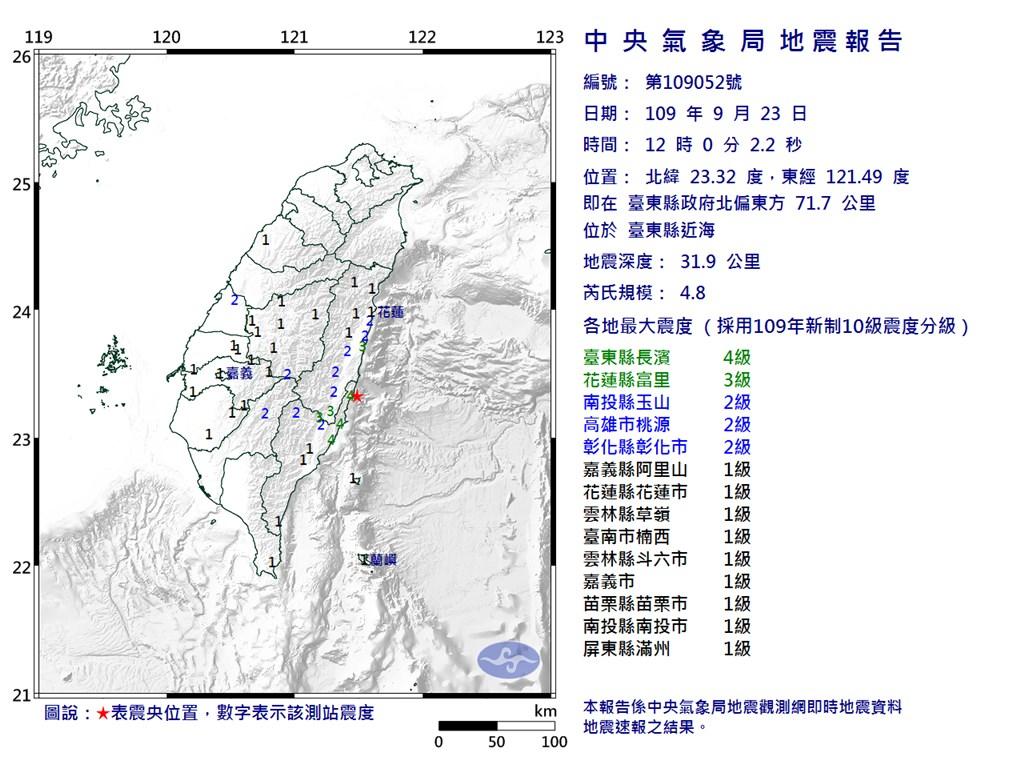 台東縣近海(星號處)23日中午12時發生芮氏規模4.8地震,地震深度31.9公里。(圖取自中央氣象局網頁cwb.gov.tw)