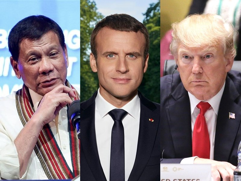第75屆聯合國大會進行至今,包括菲律賓總統杜特蒂(左)、法國總統馬克宏(中)、美國總統川普(右)等國家元首,都藉大會演說對中國提出批評或挑戰。(左圖取自facebook.com/rodyduterte;中圖取自facebook.com/EmmanuelMacron;右圖為中央社檔案照片)