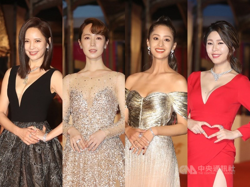 第55屆金鐘獎26日晚間舉行,入圍者天心(左起)、黃瀞怡(小薰)、莫允雯、白家綺盛裝出席。(中央社檔案照片)
