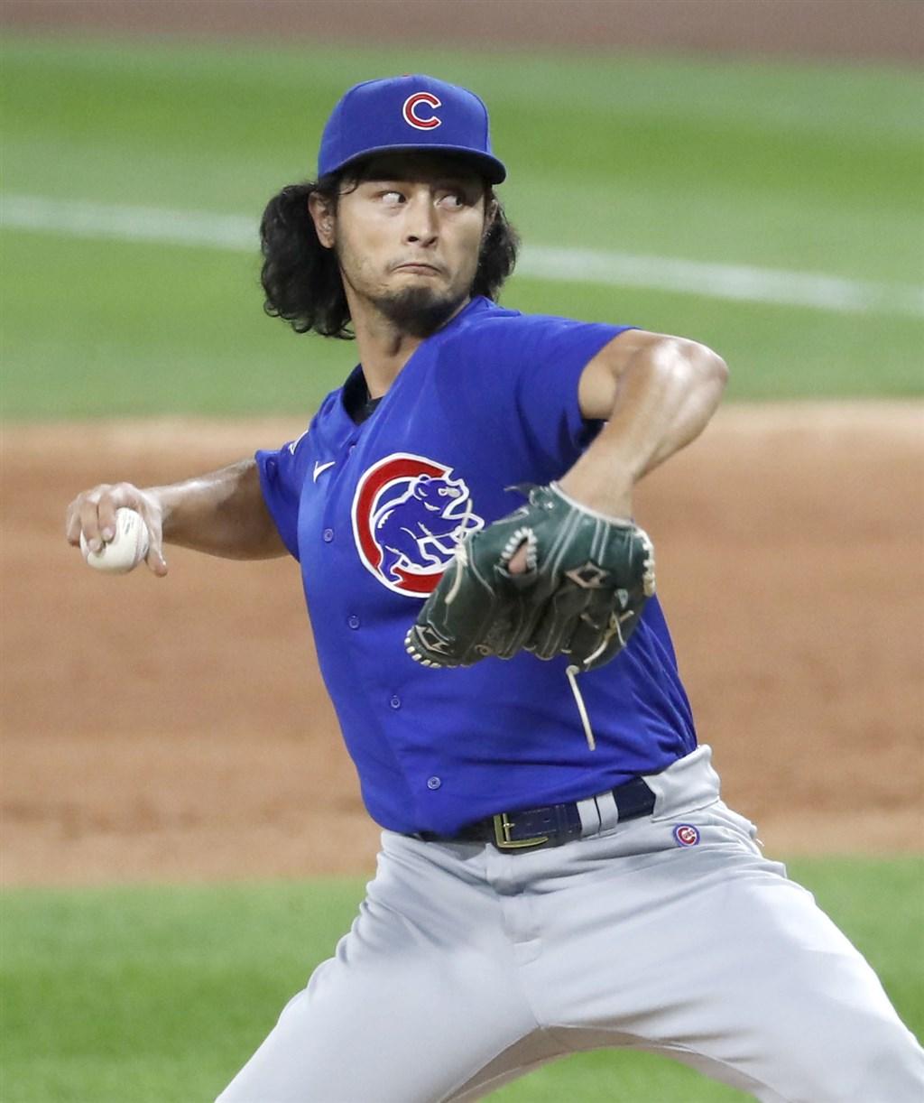 MLB芝加哥小熊日籍強投達比修有本季累計拿下8勝,確定成為第一位拿下國聯勝投王的日籍投手。(共同社)