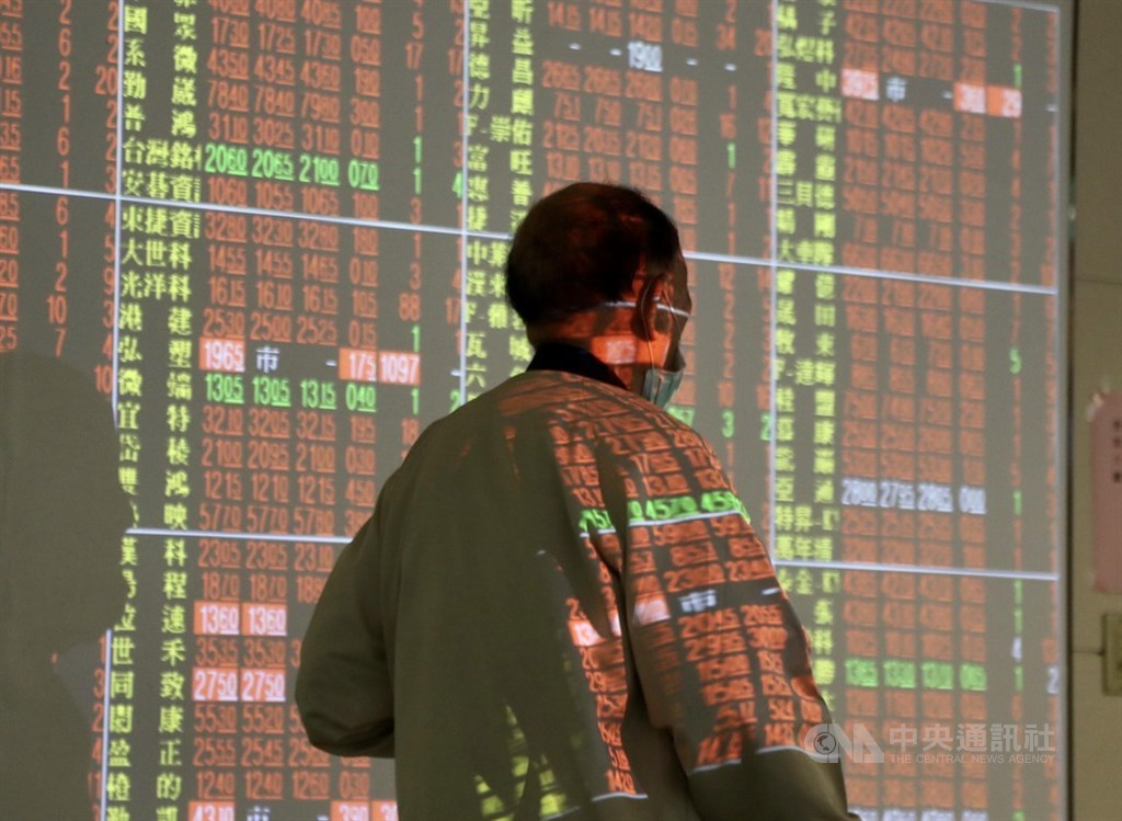 台股28日開高走高,加權指數終場收漲229.85點,突破12400點,收復12437.89點5日線關卡。(中央社檔案照片)