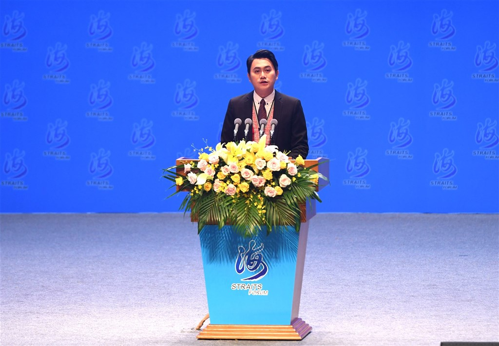 媒體報導,阿美族人楊品驊於廈門舉行的第12屆海峽論壇中演講時自稱為「中國人」。(中新社)