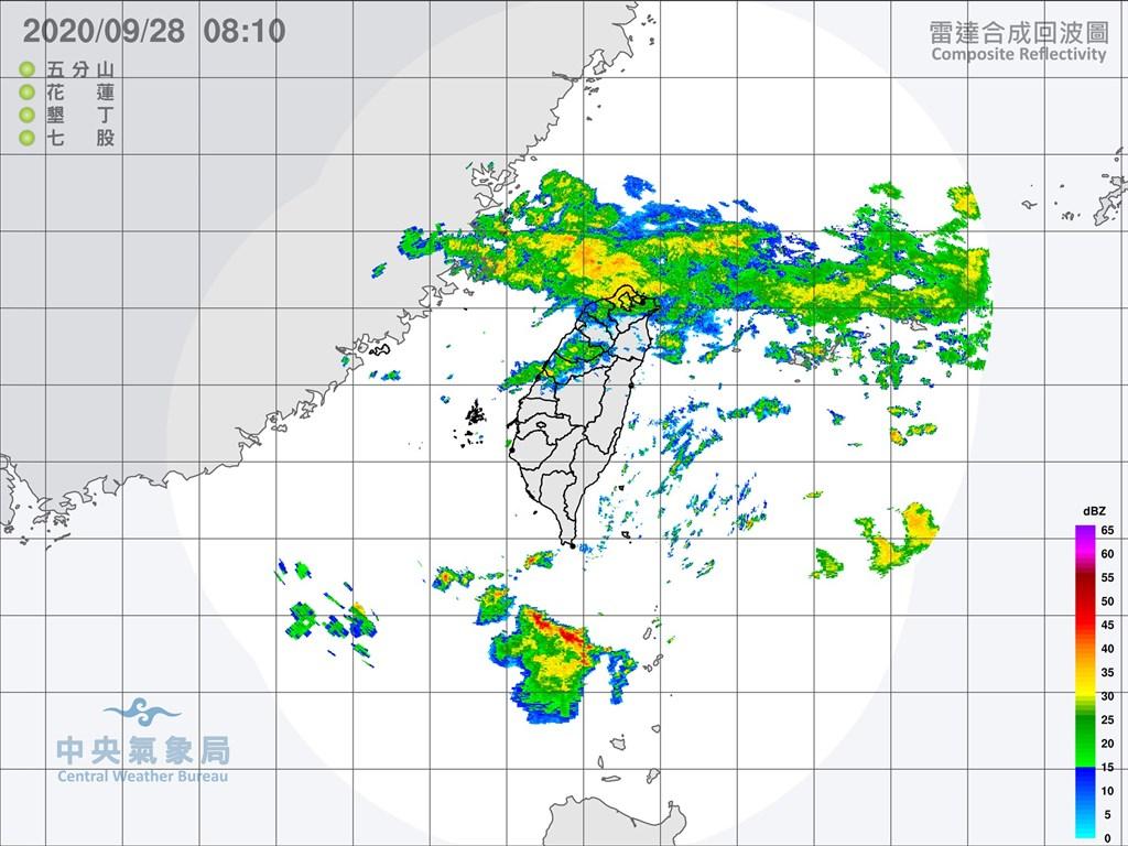 28日持續受到東北風及華南雲雨區影響,北台灣一整天濕濕涼涼,北部及宜蘭有陣雨並有局部大雨發生的機率。(圖取自中央氣象局網頁cwb.gov.tw)