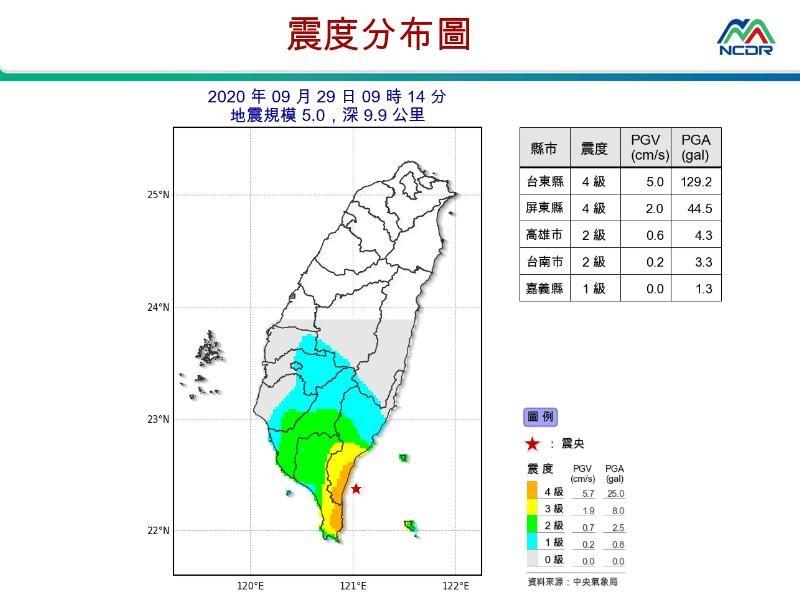 台東地區29日上午9時14分發生地震,芮氏規模5.0。(圖取自國家災害防救科技中心LINE帳號)
