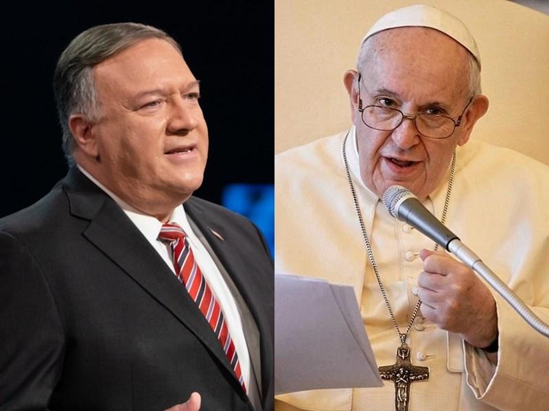 美國國務卿蓬佩奧(左)30日訪問梵蒂岡卻無法會晤教宗(右),教廷官方理由是避免影響美國總統大選。(左圖取自twitter.com/SecPompeo,右圖取自instagram.com/franciscus)