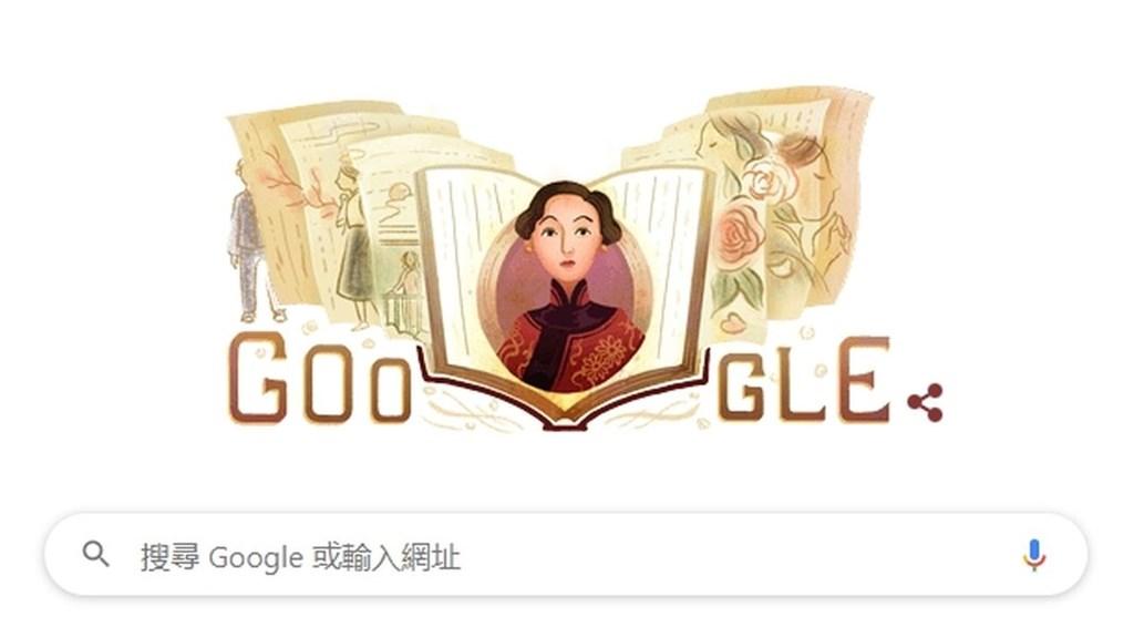 Google首頁30日出現一張穿著紅色旗袍、梳著波浪瀏海的民國女子,這名女子正是已逝作家張愛玲。(圖取自Google網頁google.com)