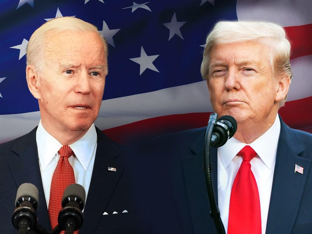 美國共和黨籍總統川普(右)和民主黨籍總統候選人拜登(左)29日首度同台較勁,火藥味十足。(中央社製圖;左圖取自facebook.com/joebiden,右圖版權屬公眾領域)