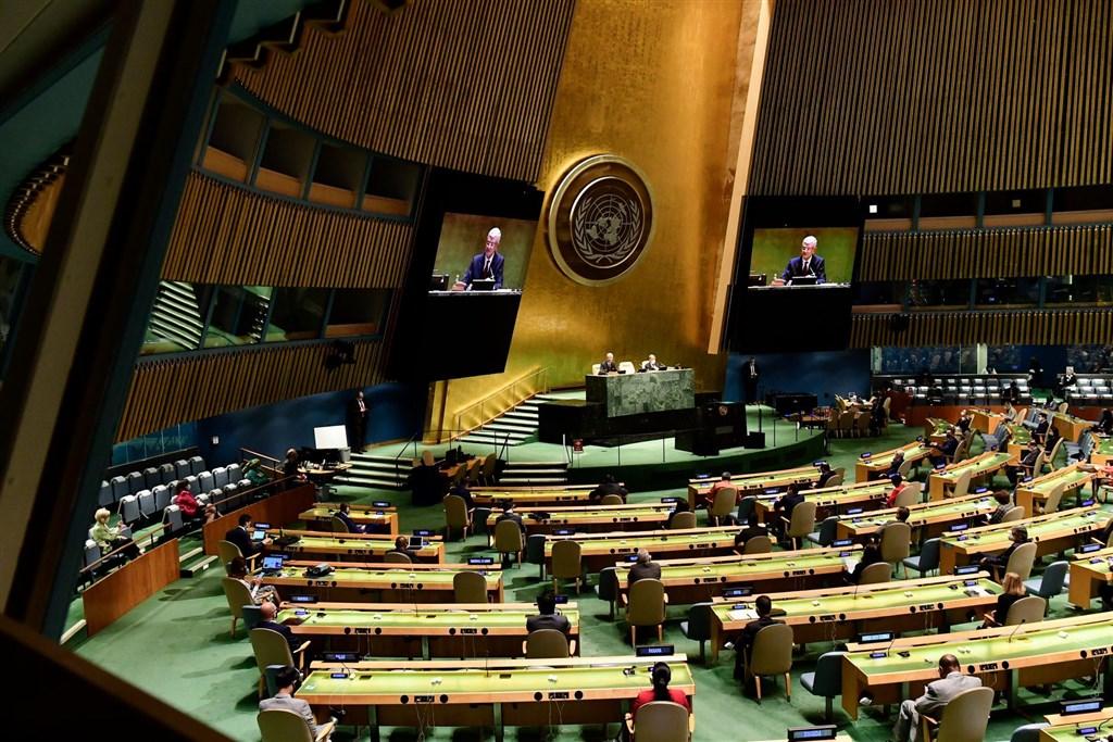 第75屆聯合國大會總辯論,台灣15友邦中,12國發聲挺台參與聯合國體系,較去年多一國。圖為第75屆聯合國大會開幕。(圖取自facebook.com/unitednations)