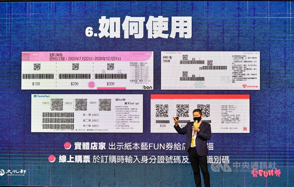 文化部30日提醒,還未使用藝FUN券的民眾盡快使用。圖為文化部長李永得8月24日介紹如何使用「紙本藝FUN券」。(中央社檔案照片)