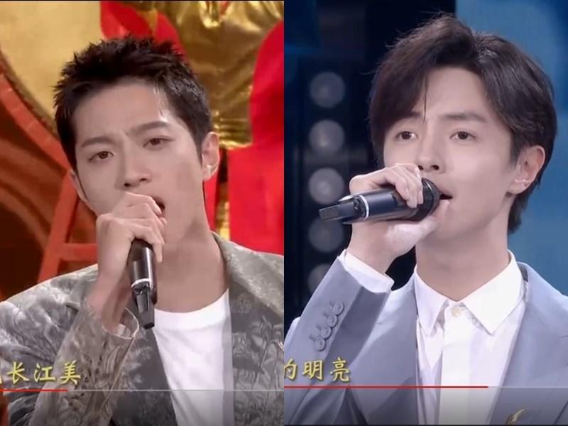 曾赴韓國發展的19歲歌手賴冠霖(左)、長年在中國大陸發展的25歲藝人官鴻1日晚間在中國中央電視台「十一」特別節目演唱。(圖取自央視網頁tv.cctv.com)