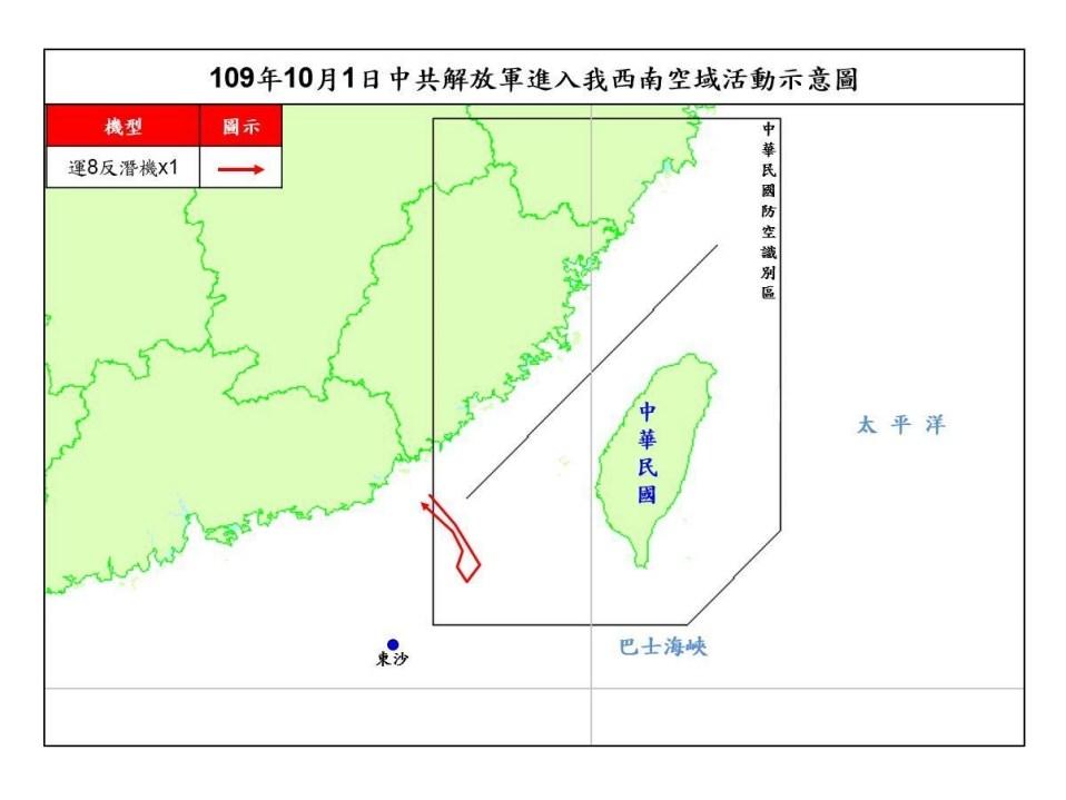 空軍司令部表示,共軍1架運8反潛機1日侵犯台灣西南防空識別區(ADIZ)。(圖取自國防部網頁mnd.gov.tw)