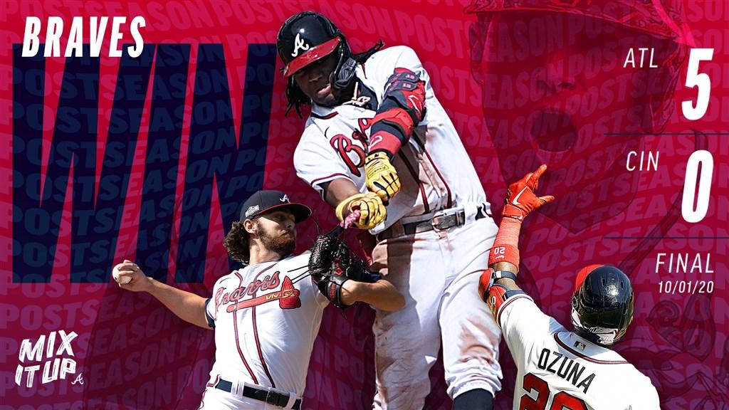 亞特蘭大勇士1日以5比0擊敗辛辛那提紅人,晉級美國職棒大聯盟國家聯盟分區系列賽。(圖取自twitter.com/Braves)