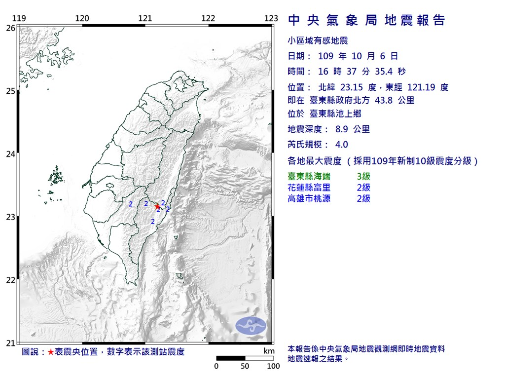 6日下午4時37分發生芮氏規模4.0地震,地震深度8.9公里,最大震度台東縣3級。(圖取自中央氣象局網頁cwb.gov.tw)